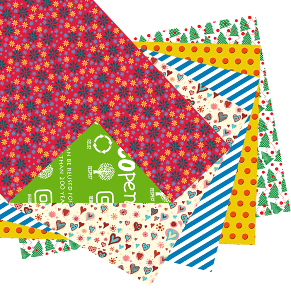 Ecopence reusable wrapping paper